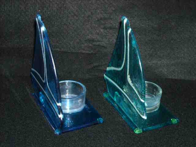 2 Glass Sailboat Tealight Candle Holders Blues Candles