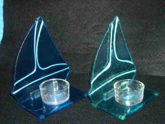 Sailboat Tealight Candle Holders, Blues