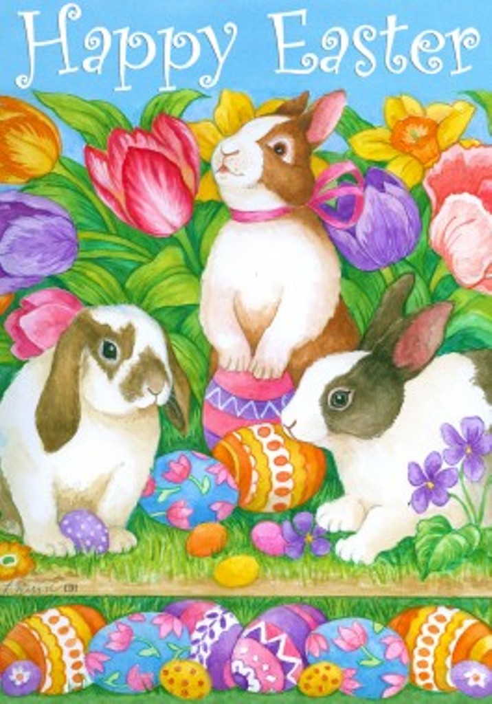 Happy Easter Mini Garden Flag Bunnies Tulips Easter Eggs