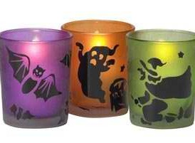 Set of 3: Witch, Bat and Ghost Votive or Tealight Holders