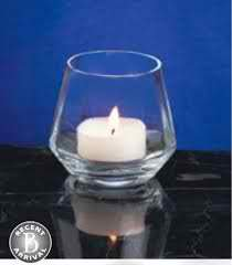 "Measures 3 3/4' diameter by 3 5/8"" in height. Holds daylight or tealight candles."