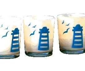 Milk Glass Lighthouse Scene Votive