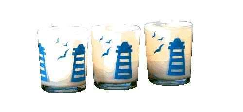 Milk Glass Lighthouse Scene Votive