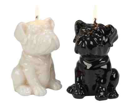 Set of 2 Bulldog Puppy Shaped Candles, 1 White and 1 Black