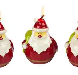 Santa Candles, Gift Boxed Set of 3, 3 Inches Tall