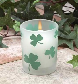 One Frosted Glass Shamrocks Votive Holder
