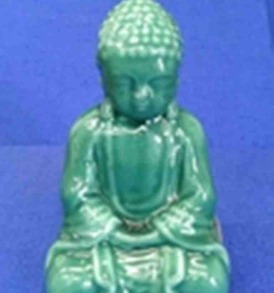 One Shiny Jade Green Buddha Candle