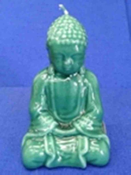 One Shiny Jade Green Buddha Candle