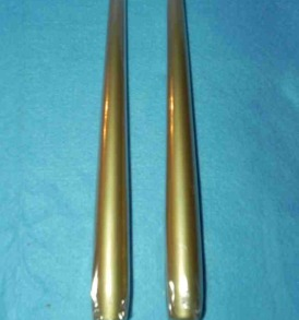 "Pair of Gold Dinner Taper Candles, 7/8"" By 10"" Tall"