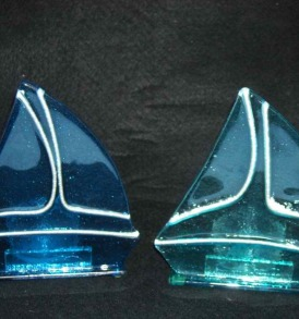 Set of 2 Sailboat Tealight Holders, New