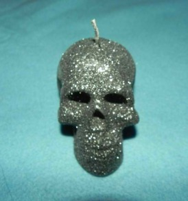 Charcoal Glitter Skull Candle