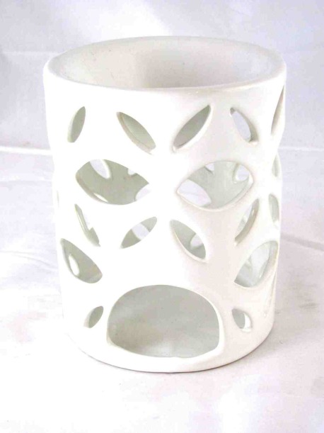 Ceramic Cut Out Design White Tart Warmer