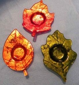 Set of 3 Glass Fall Leaf Tealight Holder Plates