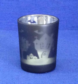 1 Metallic Haunted House Votive or Tealight Holder
