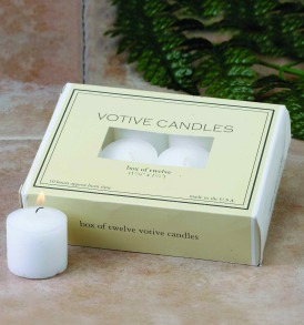 Box of 12 white votive candles 1.5 x 1.25-Inches Up to 10 hours burn time Made in USA Biedermann and sons has specialized in unique candles and decorative accessories since 1966