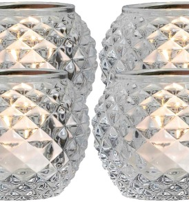 Pineapple Textured Glass Tealight Candle Holders,