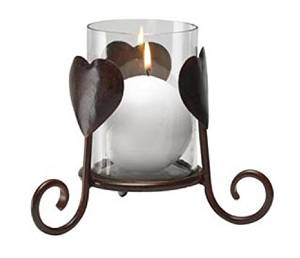 Antique Bronze Hearts Candle Holder