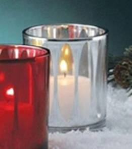 "Measurements are 2 3/8"" diameter by 2 7/8"". Holds a votive or tealight candle."