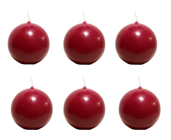 Biedermann & Sons 2-3-4-Inch Round-Shaped Candles, Burgundy, Set of 6
