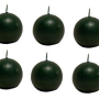 Biedermann & Sons 2-3 4-Inch Round-Shaped Candles, Green, Set of 6