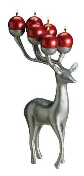 Biedermann & Sons Reindeer 6 Ball Candle Holder, Silver