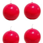 Biedermann & Sons Round-Shaped 2-38-Inch Diameter Ball Candles, Set of 4, Red