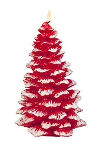 Biedermann & Sons Snow Coated Red Christmas Tree Candle
