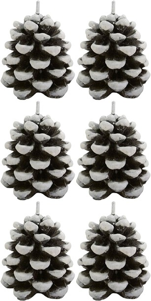 Biedermann & Sons Snow Dusted Pinecone Shaped Candles, Box of 6 2