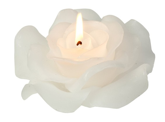 Biedermann & Sons White Rose Shaped Candle, Large