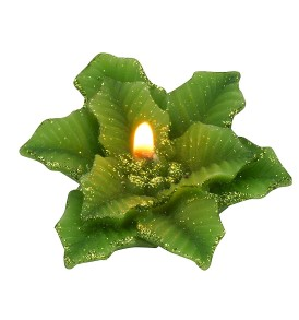 Biedermann & Sons 16 Count Poinsettia Floating Candles, Gold Glitter Green
