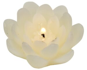 Biedermann & Sons 4-Pack Floating Lotus Candles, White, Box of 3