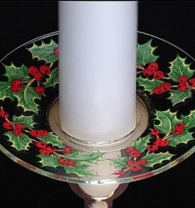 Biedermann Sons M100XH Glass Bobeche With Holly Design
