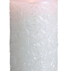 Biedermann & Sons White Pearl Pillar Candle, 3 by 9-Inch, Silver Brushed