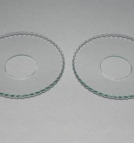 Set of 2 Glass Bobeche, Plain with Serrated Edges 2